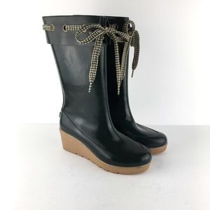 Sperry Green Top-Sider Rain Boots Wedges Sz 7